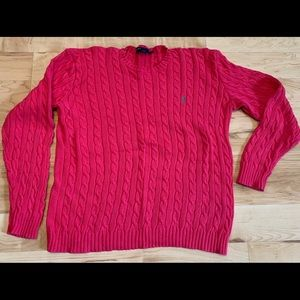 Hot pink cable knit Polo sweater. Aqua pony.